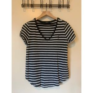 Navy and White Striped Polo Tee
